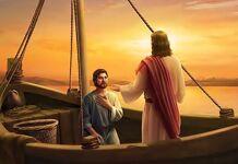 Jesus e pedro no barco dos pescadores o barco da vida